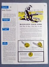 8 x 11 1954 McCulloch Chain Saw Ad COST LESS TO BUY - COST LESS TO OWN