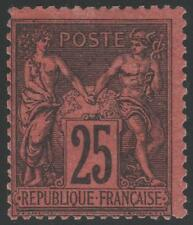 "FRANCE STAMP TIMBRE N° 91 "" TYPE SAGE 25 c NOIR SUR ROUGE "" NEUF x TB  K339"