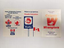Calgary Wrangers 1986/87 WHL Minor Hockey Pocket Scheduke - Husky (RK)