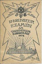 INGENIEUR EXAMEN am Technikum Konstanz 1924 > Hechingen Hohenzollern