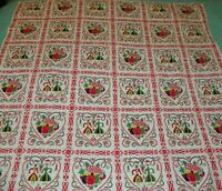 Vintage Pennsylvania Dutch Amish Tablecloth 46 X 48 by Marlene Linens Provencial
