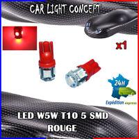 1 x ampoule veilleuse Feu LED W5W T10 ROUGE XENON 6500k voiture auto moto 5 smd