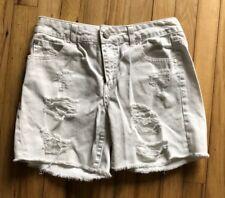 Women's REFUGE Solid White Cotton Casual Denim Damaged Jeans Shorts Size 4