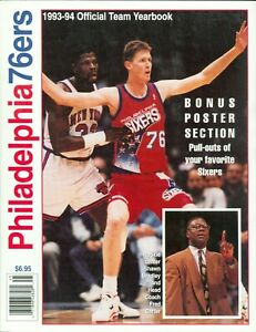 1993-94 Philadelphia 76ers Official Team Yearbook Shawn Bradley With Posters