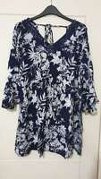 NEW Ex store Ladies PLUS SIZE Navy Blue Floral Top with Tie back Size 16 - 22