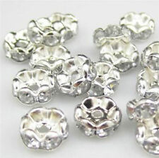 100Pcs Silver Plated Crystal Bead Caps Spacer for jewerlly making 8mm