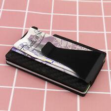 Slim Carbon Fiber Credit Card Holder RFID Blocking Metal Money Clip Wallet