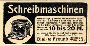Bial & Freund Breslau  Wien RATENKAUF SCHREIBMASCHINEN Historische Annonce 1908