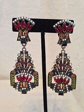 "**MASSIVE** HEIDI DAUS Red Blue Green Pearl Chandelier Earrings, CLIP, 3.3"" Long"
