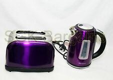 Juego De Cocina Eléctrico Hervidor Inalámbrico 1.7L Set 2 Rebanada Tostadora Bagel púrpura