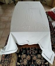 """Vintage Antique White Embroidered Flat Sheet 96"""" x 91"""""""