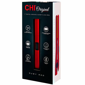 "NIB 1"" CHI Orig Digital Ceramic Hairstyling Iron RUBY RED Plus Free Cricket Comb"