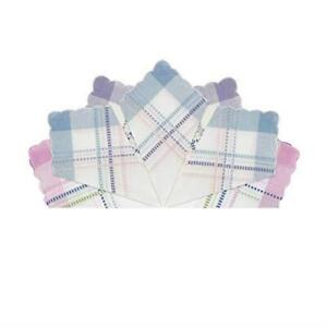 2 Packs of 7 Assorted Womens Handkerchiefs Cotton Leno Scallop Edge Gift Boxed