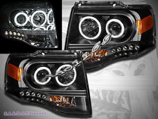 2007-2013 FORD EXPEDITION DUAL HALO CCFL LED PROJECTOR HEADLIGHTS BLACK LAMPS
