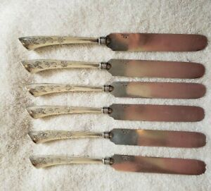 ANGELO by GORHAM Sterling Silver Bladed set 6 Knives 1870 RARE 8 3/8""