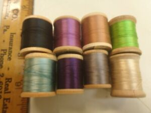 Lot of 8  Vintage  SILK WOODEN SPOOLS of SEWING THREAD FLY TYING
