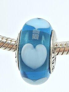 Authentic Pandora Murano 925 Blue Heart Murano Glass Bead Charm