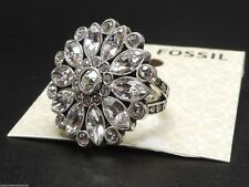 Fossil Flower Ring Size 7 Silvertone Crystals New! NWT