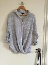 Stripe Cotton Shirt Wrap Minimalist Utilitarian Grey White 8 Xs Blogger Sold Out