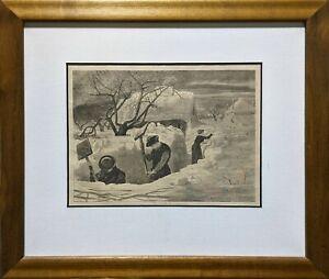"Winslow Homer ""A Winter Morning Shoveling Out"" -Rare Adirondack engraving"