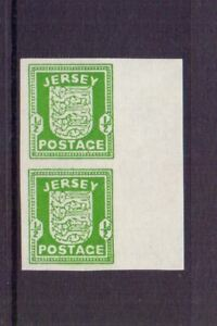 JERSEY 1941 ½d IMPERF VERTICAL PAIR - BLACK ADHESION TO GUM