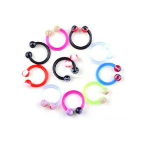 Pack Of 5 Mixed Body Piercings Ear Lobe Helix Tragus Belly Jewellery Acrylic