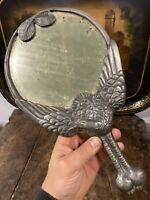 Mogins Ballin Danemark Miroir Face à Main Étain Art Nouveau Jugendstil Deco