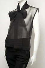 LANVIN Black Sleeveless Bow Top Sz:42F Retail $1,520 NEW