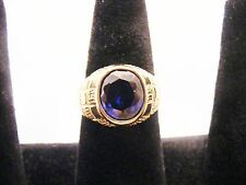 14K SOLID GOLD RING WITH  FACETED, OVAL SAPPHIRE