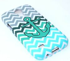 Samsung Galaxy S4 mini i9190 HARD CASE COVER TURQUOISE BLUE GREEN CHEVRON ANCHOR