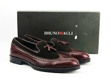 BRUNO MAGLI BURGUNDY & BROWN COMBO HANDMADE SHOES LEATHER ITALY NEW SIZE 10 # 8