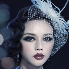 Birdcage Veil and Flower Feather Fascinator Bridal Wedding Hair Clip