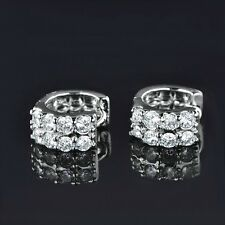 Luxury 18k White Gold Filled Charming Swarovski Crystal Hoop Stud Earrings