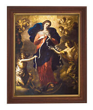 MARY OUR LADY UNDOER ( UNTIER ) OF KNOTS PRINT W GLASS Wood tone frame