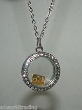 FLOATING GLASS CHROME CHARM LOCKET NECKLACE + CHAIN & 1 GRAM VALCAMB GOLD BAR