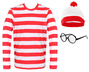 FIND WALLY RED & WHITE STRIPED TOP ADULTS COSTUME BOOK DAY T-SHIRT HAT GLASSES