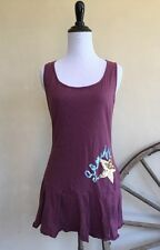 HONEY PUNCH Purple Sleeveless Drop Waist Long Shirt Sheriff Star Sequin Detail L