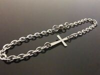 3mm Stainless Steel Bracelet Or Ankle Chain Anklet ~ Cross Charm