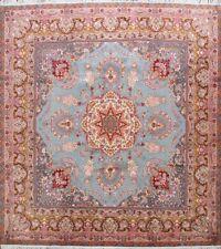100% Floral Turquoise Tebriz Area Rug SQUARE Hand-Knotted Fine Carpet 10x10