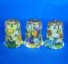 Birchcroft Thimbles -- Set of Three  -- Gold Top Spring Flowers ( Make Offer )