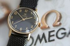STUNNING SOLID GOLD GENUINE OMEGA AUTOMATIC BLACK DIAL 1963 WATCH!!!