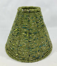 Green Earth Colors Beaded Glass and Metal Lamp Shade Clip On Small Mini