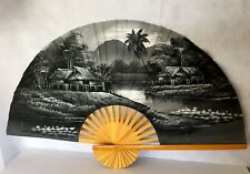 Lrg Vtg Chinese Asian Fan Wall Décor Hand Painted Black Gray White