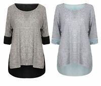 Ladies Girls Top T Shirt Tee 3/4 Sleeve Blouse Womens New Denim Brown Black