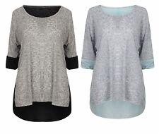 Ladies Top T Shirt Tee 3/4 Sleeve Blouse Womens New Denim Brown Black Sheer Back