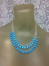 "Signed ""Chaps"" Silver-tone and Simulated turquoise Necklace 20.5"" 2 Layers"