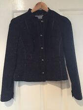 JIGSAW Black Wool Blend Military Style Jacket Size 6
