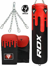 Rdx Punching Bag Set Training Gloves Boxing Punch Chains Wall Bracket Fillled