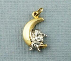 9ct Yellow & White Gold Cherub On The Moon Pendant, Cherub Pendant, Moon Pendant