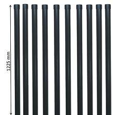 10 Zaunpfähle rund Metall Ø 34 mm f. 1m Zaun-Anlage Schweiß-gitter-draht in grau